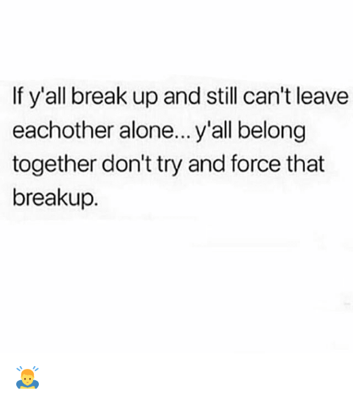 Being Alone, Memes, and Break: If y'all break up and still can't leave  eachother alone... y'all belong  together don't try and force that  breakup. 🙇