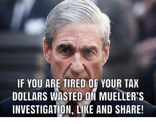 Tax, You, and Share: IF YOU ARE TIRED OF YOUR TAX  DOLLARS WASTED ON MUELLER'S  INVESTIGATION, LIKE AND SHARE!