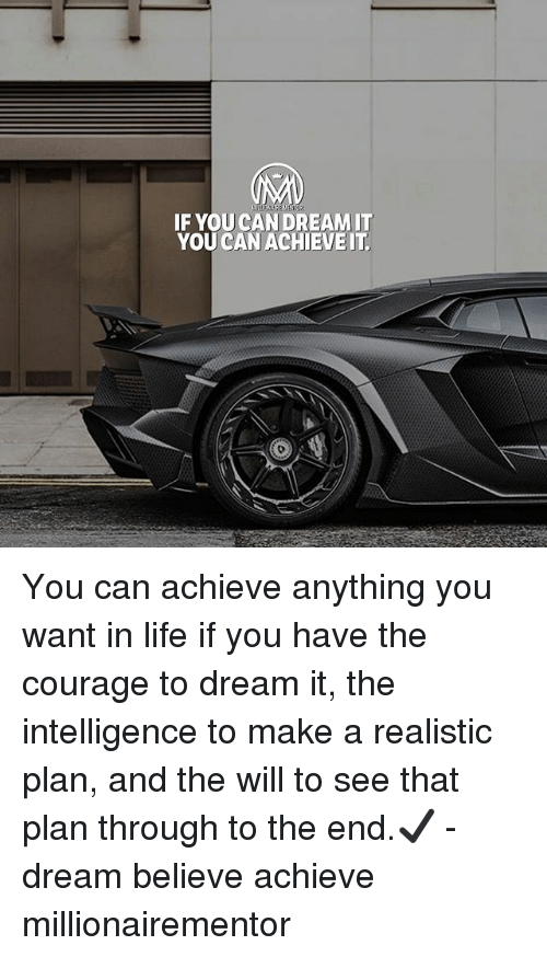 Life, Memes, and Courage: IF YOU CAN DREAMIT  YOU CAN ACHIEVEIT You can achieve anything you want in life if you have the courage to dream it, the intelligence to make a realistic plan, and the will to see that plan through to the end.✔️ - dream believe achieve millionairementor