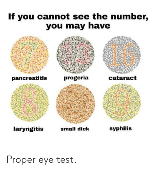 syphilis: If you cannot see the number,  you may have  16  pancreatitis  progeria  cataract  laryngitis  small dick  syphilis Proper eye test.