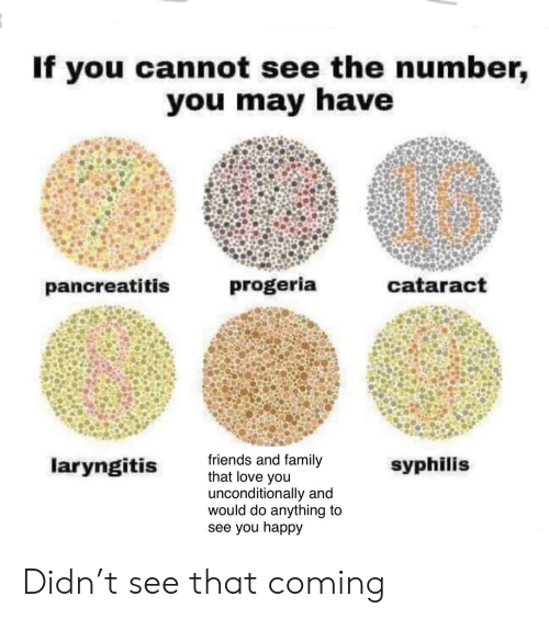 syphilis: If you cannot see the number,  you may have  progeria  cataract  pancreatitis  friends and family  that love you  unconditionally and  would do anything to  see you happy  laryngitis  syphilis Didn't see that coming
