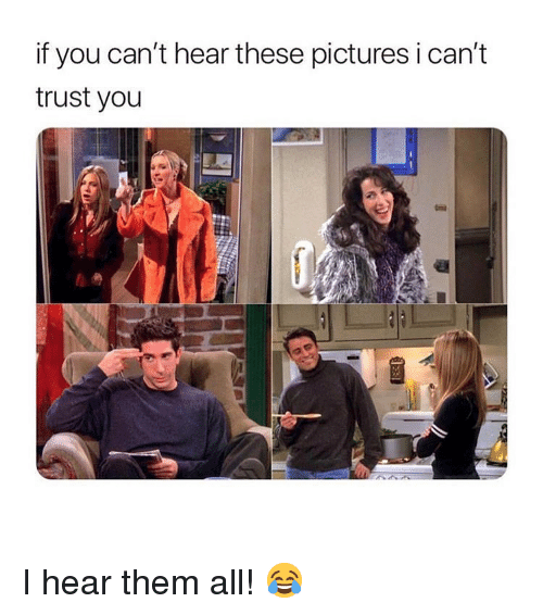 Memes, Pictures, and 🤖: if you can't hear these pictures i can't  trust you I hear them all! 😂