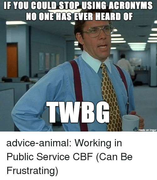 Advice, Tumblr, and Animal: IF YOU COULD STOP USING ACRONYMS  NO ONE HAS EVER HEARD OF  TWBG  made on imgur advice-animal:  Working in Public Service CBF (Can Be Frustrating)