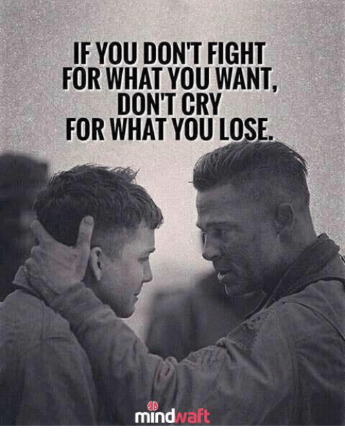 Memes, Fight, and 🤖: IF YOU DON'T FIGHT  FOR WHAT YOU WANT  DON'T CRY  FOR WHAT YOU LOSE.  mindwaflt