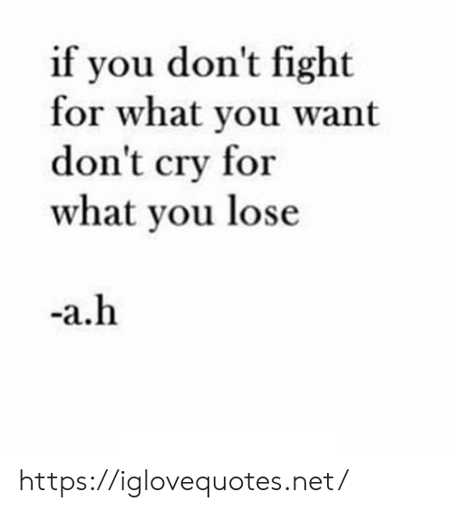 Fight, Net, and Cry: if you don't fight  for what you want  don't cry for  what you lose  -a.h https://iglovequotes.net/