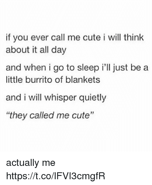 """Cute, Go to Sleep, and Girl Memes: if you ever call me cute i will think  about it all day  and when i go to sleep i'll just be a  little burrito of blankets  and i will whisper quietly  """"they called me cute"""" actually me https://t.co/lFVI3cmgfR"""