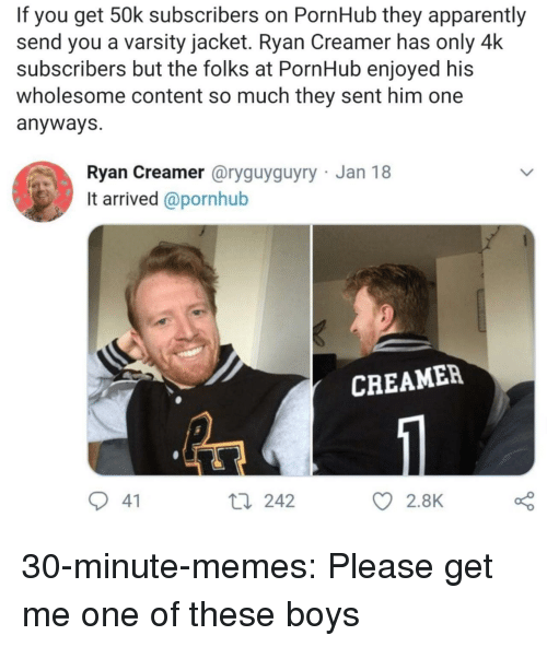 Apparently, Memes, and Pornhub: If you get 50k subscribers on PornHub they apparently  send you a varsity jacket. Ryan Creamer has only 4k  subscribers but the folks at PornHub enjoyed his  wholesome content so much they sent him one  anyways  Ryan Creamer @ryguyguyry Jan 18  It arrived @pornhub  CREAMER  41  t0 242  2.8K 30-minute-memes:  Please get me one of these boys