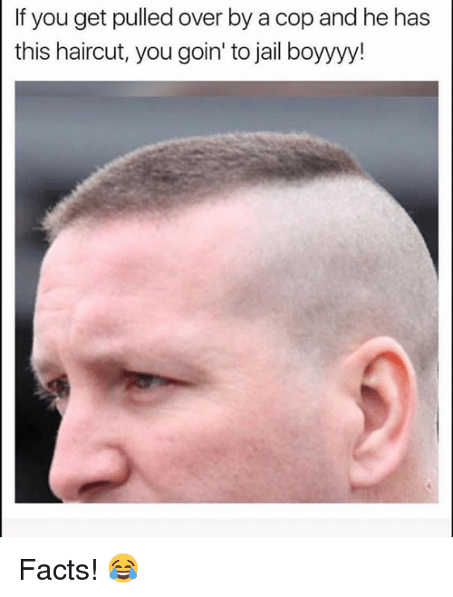 Facts, Haircut, and Jail: If you get pulled over by a cop and he has  this haircut, you goin' to jail boyyyy! Facts! 😂