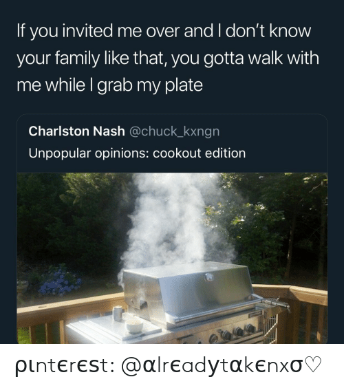 Family, Chuck, and Nash: If you invited me over and I don't know  your family like that, you gotta walk with  me while I grab my plate  Charlston Nash @chuck_kxngn  Unpopular opinions: cookout edition ριntєrєѕt: @αlrєadуtαkєnxσ♡