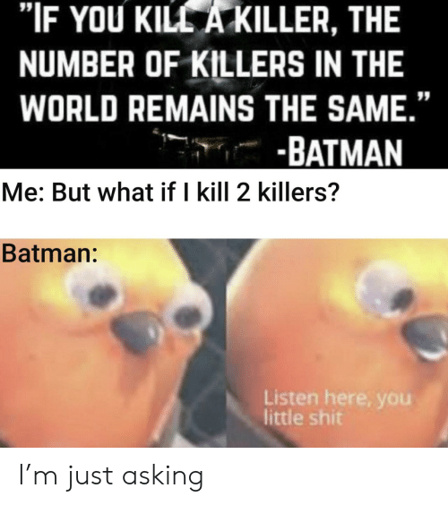 "killer: ""IF YOU KILL A KILLER, THE  NUMBER OF KILLERS IN THE  WORLD REMAINS THE SAME.""  -BATMAN  Me: But what if I kill 2 killers?  Batman:  Listen here, you  little shit I'm just asking"
