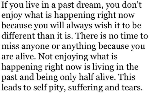 Alive, Live, and Time: If you live in a past dream, you don't  enjoy what is happening right now  because you will always wish it to be  different than it is. There is no time to  miss anyone or anything because you  are alive. Not enjoying what is  happening right now is living in the  past and being only half alive. This  leads to self pity, suffering and tears