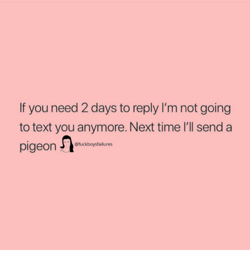 Text, Time, and Girl Memes: If you need 2 days to reply I'm not going  to text you anymore. Next time l'll send a  pigeon @fuckboysfailures