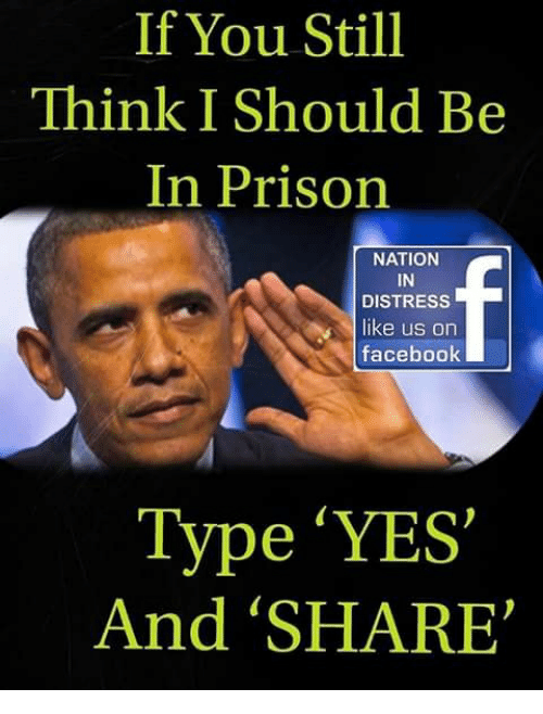 Facebook, Memes, and Prison: If You Still  Think I Should Be  In Prison  NATION  IN  DISTRESS  like us orn  facebook  Type 'YES'  And 'SHARE