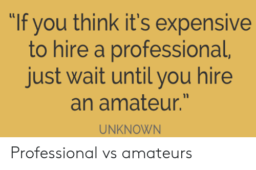 """Unknown, Think, and You: """"If you think it's expensive  to hire a professional,  just wait until you hire  an amateur.""""  UNKNOWN Professional vs amateurs"""