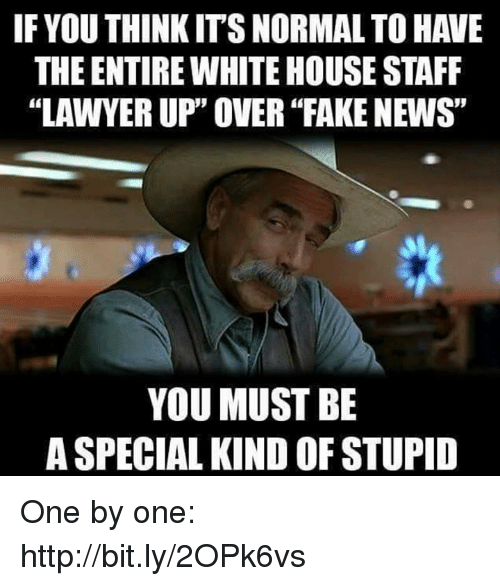"Fake, News, and White House: IF YOU THINK IT'S NORMAL TO HAVE  THE ENTIRE WHITE HOUSE STAFF  ""LAWYER UP"" OVER ""FAKE NEWS""  YOU MUST BE  A SPECIAL KIND OF STUPID One by one: http://bit.ly/2OPk6vs"