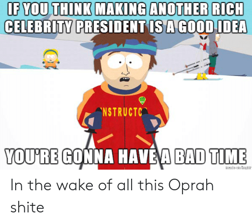 Richness: IF YOU THINK MAKING ANOTHER RICH  CELEBRITY  PRESIDENT IS A GOODIDEA  NSTRUCTC  YOU'RE GONNA HAVE'A BAD TIME In the wake of all this Oprah shite