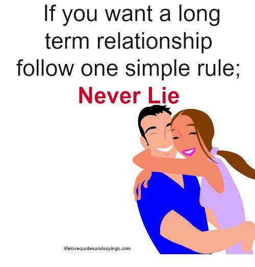Never, Simple, and Com: If you want a long  term relationship  follow one simple rule,  Never Lie  dsayings.com