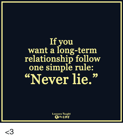 "Long Term Relationship: If you  want a long-term  relationship follow  one simple rule:  ""Never lie.""  Lessons Taught  By LIFE <3"