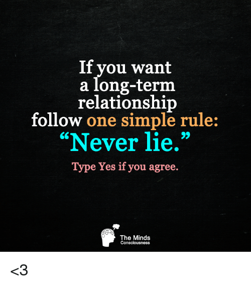 "Long Term Relationship: If you want  a long-term  relationship  follow one simple rule:  ""Never lie.""  Type Yes if you agree.  The Minds  Consciousness <3"
