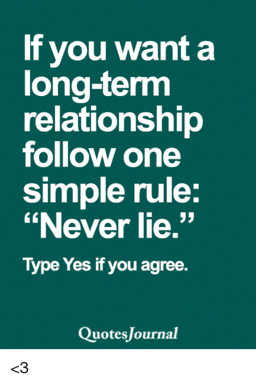 "Long Term Relationship: If you want a  long-term  relationship  follow one  simple rule  ""Never lie.""  Type Yes if you agree.  uotes Journal <3"