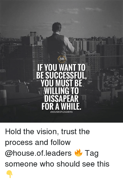 Trust The Process: IF YOU WANT TO  BE SUCCESSFUL  YOU MUST BE  WILLING TO  DISSAPEAR  FOR A WHILE  Hold the vision, trust the process and follow @house.of.leaders 🔥 Tag someone who should see this 👇