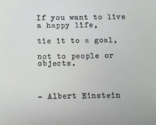 Albert Einstein, Life, and Einstein: If you want to live  a happy life,  tie it to a goal,  not to people or  objects.  Albert Einstein