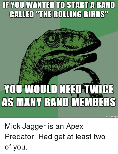 """Apex, Birds, and Predator: IF YOU WANTED TO  CALLED """"THE  START A BAND  ROLLING BIRDS  YOU WOULD NEED TWICE  AS MANY BAND MEMBERS  made on imqur Mick Jagger is an Apex Predator. Hed get at least two of you."""