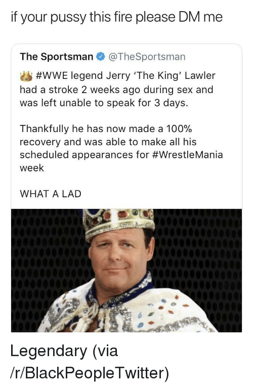 Anaconda, Blackpeopletwitter, and Fire: if your pussy this fire please DM me  The Sportsman @TheSportsman  #WWE legend Jerry 'The King' Lawler  had a stroke 2 weeks ago during sex and  was left unable to speak for 3 days.  Thankfully he has now made a 100%  recovery and was able to make all his  scheduled appearances for #WrestleMania  week  WHAT A LAD <p>Legendary (via /r/BlackPeopleTwitter)</p>