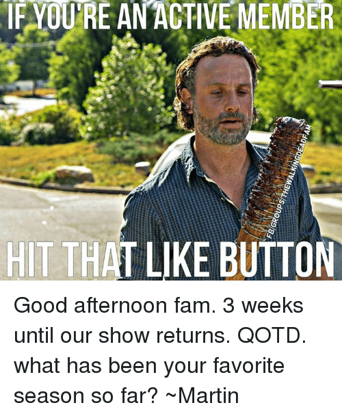 Memes, 🤖, and Button: IF YOURE AN ACTIVE MEMBER  HIT THAT LIKE BUTTON Good afternoon fam. 3 weeks until our show returns. QOTD. what has been your favorite season so far? ~Martin