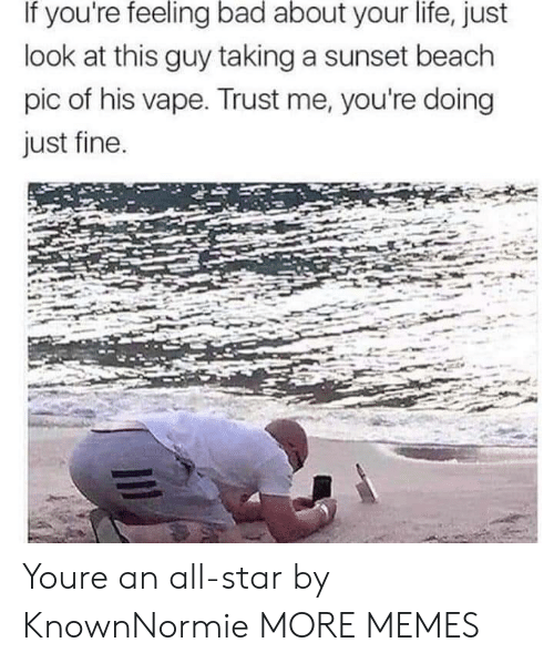 Just Fine: If you're feeling bad about your life, just  look at this guy taking a sunset beach  pic of his vape. Trust me, you're doing  just fine Youre an all-star by KnownNormie MORE MEMES