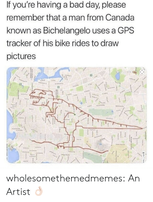 Bad, Bad Day, and Target: If you're having a bad day, please  remember that a man from Canada  known as Bichelangelo uses a GPS  tracker of his bike rides to draw  pictures wholesomethemedmemes: An Artist 👌🏻