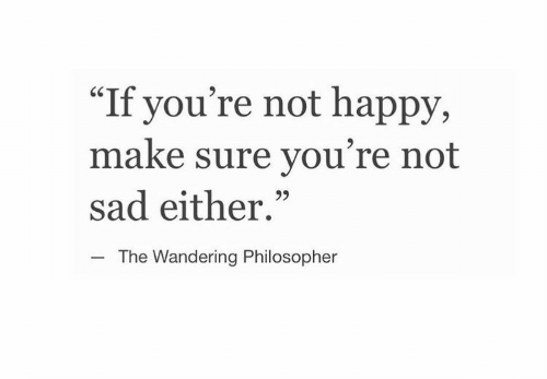 """Happy, Sad, and Make: """"If you're not happy,  make sure you're not  sad either.""""  CS  The Wandering Philosopher"""