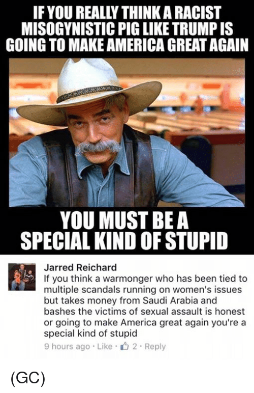 America, Memes, and Money: IF YOUREALLYTHINKARACIST  MISOGYNISTIC PIG LIKE TRUMP IS  GOING TO MAKEAMERICA GREAT AGAIN  YOU MUST BE A  SPECIAL KIND OF STUPID  Jarred Reichard  If you think a warmonger who has been tied to  multiple scandals running on women's issues  but takes money from Saudi Arabia and  bashes the victims of sexual assault is honest  or going to make America great again you're a  special kind of stupid  9 hours ago Like 2. Reply (GC)