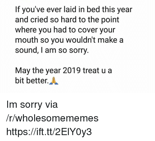 Sorry, Make A, and Sound: If you've ever laid in bed this year  and cried so hard to the point  where you had to cover your  mouth so you wouldn't make a  sound, I am so sorry  May the year 2019 treat u a  bit better.A Im sorry via /r/wholesomememes https://ift.tt/2ElY0y3