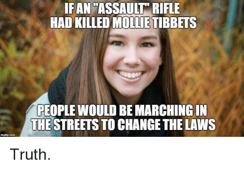 Marching: IFAN'ASSAULT RIFLE  HAD KILLED MOLLIE TIBBETS  PEOPLE WOULD BE MARCHING IN  THE STREETS TO CHANGE THE LAWS  imgfip.com Truth.