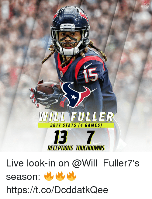 Memes, Games, and Live: IFL  TEXAN  LL FULLER  2017 STATS (4 GAMES)  13 7  RECEPTIONS TOUCHDOWNS Live look-in on @Will_Fuller7's season: 🔥🔥🔥 https://t.co/DcddatkQee