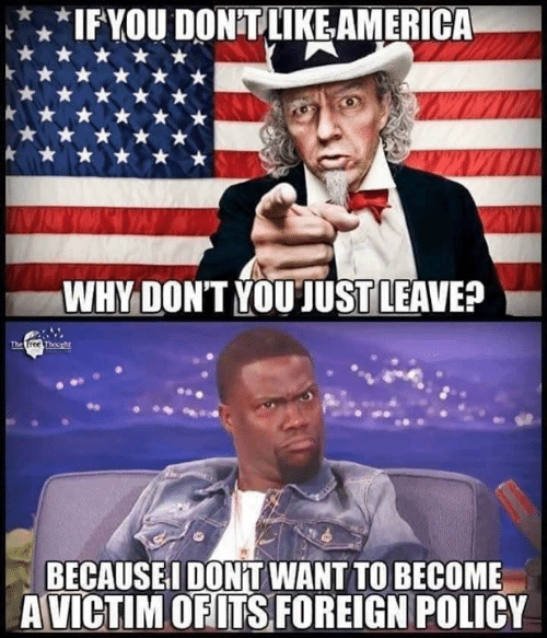 America, Memes, and 🤖: IFYOU DONT LIKE,AMERICA  WHY DONT YOUJUST LEAVE?  BECAUSEI DONT WANT TO BECOME  A VICTIM OFITS FOREIGN POLICY