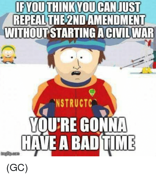 2nd Amendment: IFYOUTHINKYOUCAN JUST  REPEALTHE 2ND AMENDMENT  WITHOUT STARTING ACIVILWAR  .NSTRUCTC  YOU'RE GONNA  HAVE A BAD TIME (GC)