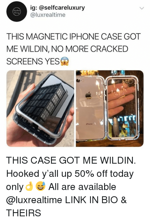 Iphone, Phone, and Cracked: ig: @selfcareluxury  @luxrealtime  THIS MAGNETIC IPHONE CASE GOT  ME WILDIN, NO MORE CRACKED  SCREENS YES  Phone THIS CASE GOT ME WILDIN. Hooked y'all up 50% off today only👌😅 All are available @luxrealtime LINK IN BIO & THEIRS