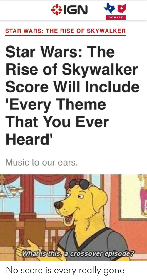 what is this: IGN  DONATE  STAR WARS: THE RISE OF SKYWALKER  Star Wars: The  Rise of Skywalker  Score Will Include  'Every Theme  That You Ever  Heard'  Music to our ears.  What is this, a crossover episode? No score is every really gone