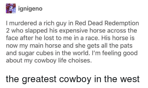 red dead redemption 2: ignigeno  I murdered a rich guy in Red Dead Redemption  2 who slapped his expensive horse across the  face after he lost to me in a race. His horse is  now my main horse and she gets all the pats  and sugar cubes in the world. I'm feeling good  about my cowboy life choises. the greatest cowboy in the west
