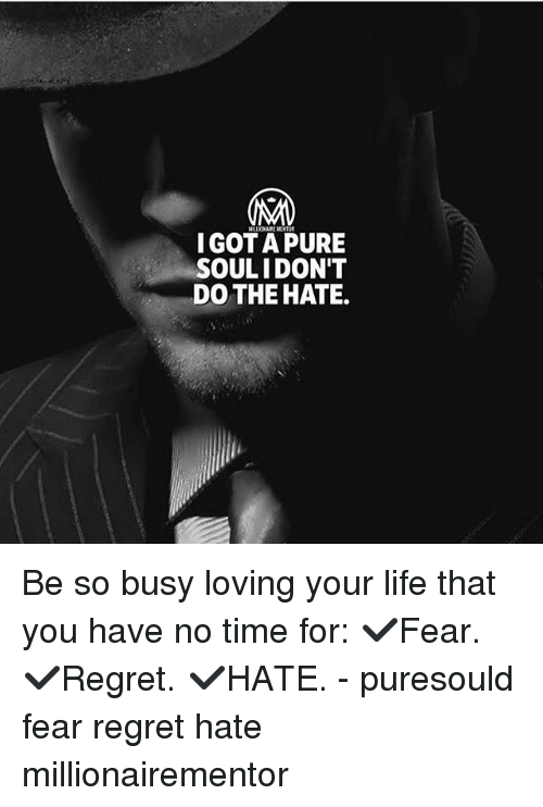 Life, Memes, and Regret: IGOT A PURE  SOULIDON'T  DO THE HATE. Be so busy loving your life that you have no time for: ✔️Fear. ✔️Regret. ✔️HATE. - puresould fear regret hate millionairementor