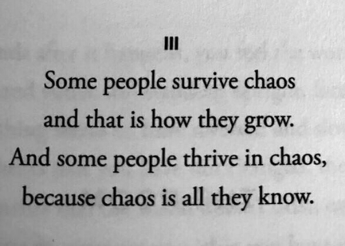 thrive: III  Some people survive chaos  and that is how they grow.  And some people thrive in chaos,  because chaos is all they know.