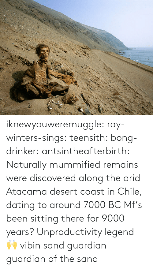 legend: iknewyouweremuggle:  ray-winters-sings: teensith:  bong-drinker:  antsintheafterbirth: Naturally mummified remains were discovered along the arid Atacama desert coast in Chile, dating to around 7000 BC   Mf's been sitting there for 9000 years? Unproductivity legend 🙌  vibin    sand guardian   guardian of the sand