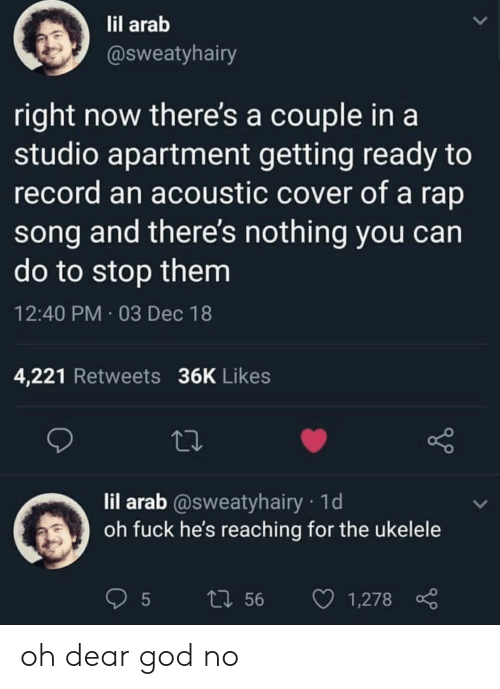 God, Rap, and Fuck: il arab  @sweatyhairy  right now there's a couple in a  studio apartment getting ready to  record an acoustic cover of a rap  song and there's nothing you can  do to stop them  12:40 PM 03 Dec 18  4,221 Retweets 36K Likes  lil arab @sweatyhairy 1d  oh fuck he's reaching for the ukelele  t1 56 1,278 oh dear god no