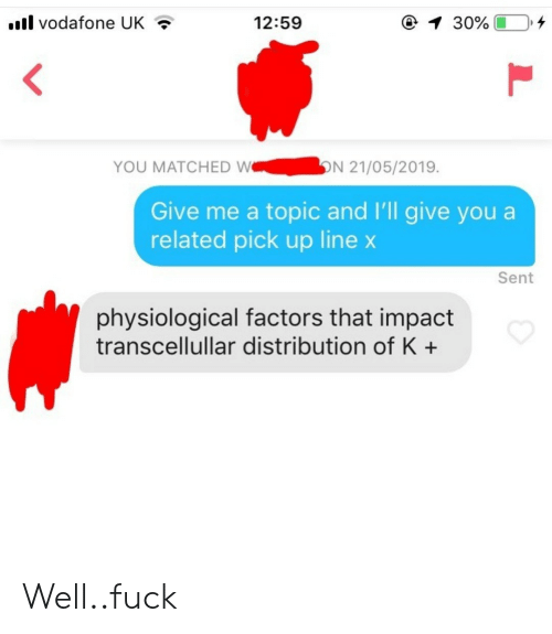 Fuck, Vodafone, and You: il vodafone UK  12:59  YOU MATCHED WN 21/05/2019.  Give me a topic and I'll give you a  related pick up line x  Sent  physiological factors that impact  transcellullar distribution of K+ Well..fuck