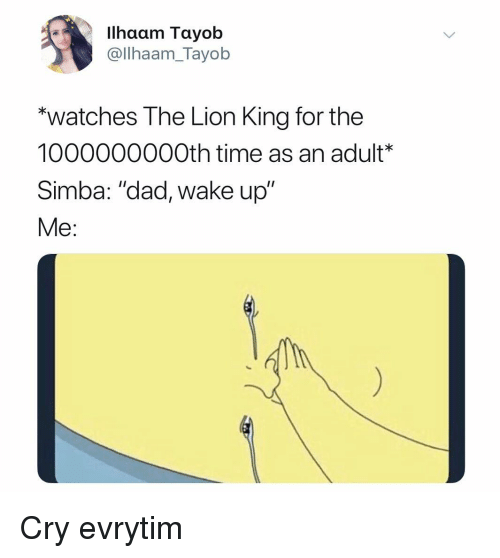 "Dad, The Lion King, and Lion: Ilhaam Tayob  @llhaam_Tayob  ""watches The Lion King for the  1000000000th time as an adult*  Simba: ""dad, wake up""  Me: Cry evrytim"