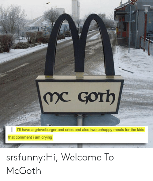 Crying, Tumblr, and Blog: I'll have a grieveburger and cries and also two unhappy meals for the kids  that comment i am crying srsfunny:Hi, Welcome To McGoth