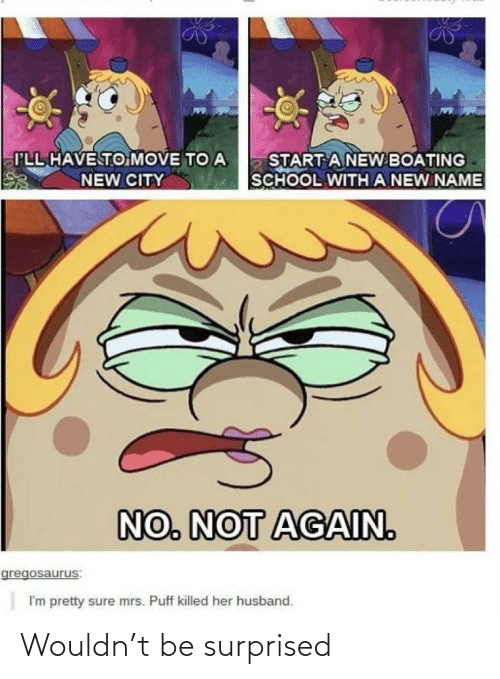 move: I'LL HAVE TO MOVE TO A  START A NEW BOATING  SCHOOL WITH A NEW NAME  NEW CITY  NO. NOT AGAIN.  gregosaurus:  I'm pretty sure mrs. Puff killed her husband. Wouldn't be surprised
