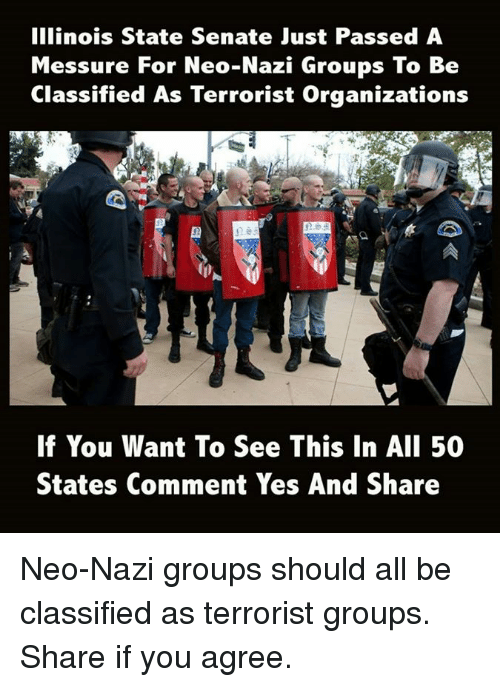 Nazy: Illinois State Senate Just Passed A  Messure For Neo-Nazi Groups To Be  Classified As Terrorist Organizations  E5D  If You Want To See This In AlI 50  States Comment Yes And Share Neo-Nazi groups should all be classified as terrorist groups.  Share if you agree.